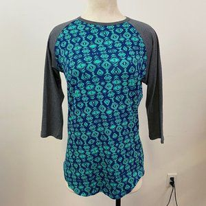 Teal with gray sleeves LulaRoe Randy
